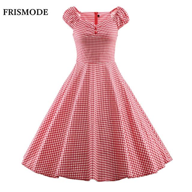 Donna Cotone Plaid Vintage Swing Midi Dress Audrey Hepburn 1950 s  Rockabilly Giovane Signora Carino Vestito fe08bbfa439