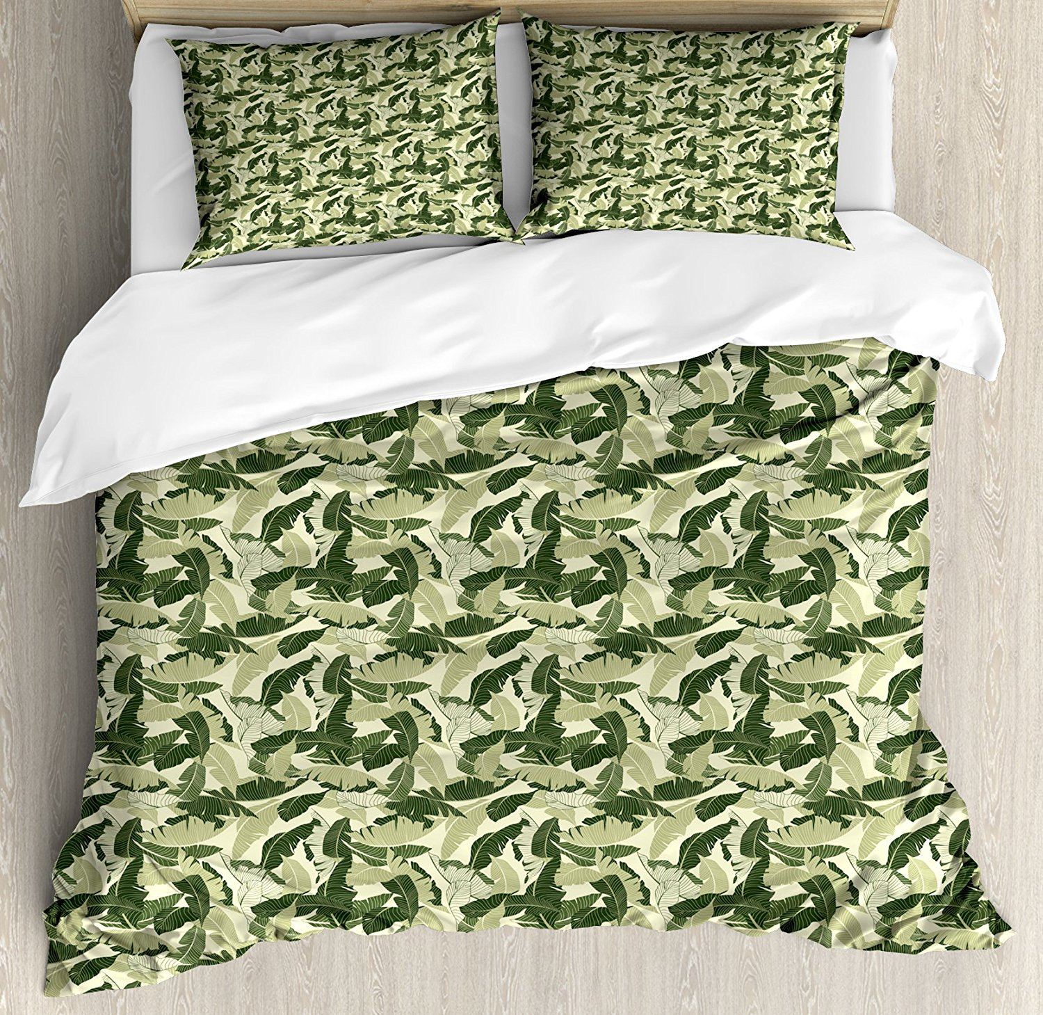 Banana Leaf Duvet Cover Set, Caribbean Exotic Tree Foliage with Vintage Look in Green Shades, 4 Piece Bedding Set