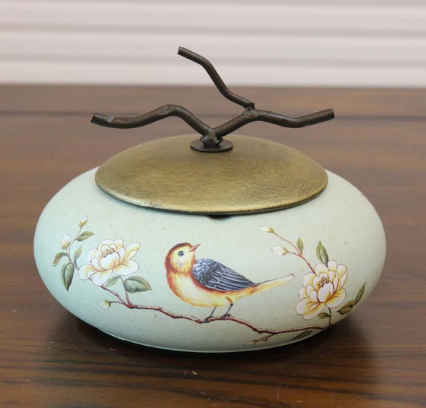 Traditional chinese Ceramic Ashtray Retro With Lid Ashtray Coffee Table Decoration Craft Furnishings Creative Ashtray Q260