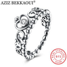 AZIZ BEKKAOUI 925 Sterling Silver My Princess Queen Crown Finger Ring CZ Romantic Ring for Women Engagement Promise Jewelry(China)