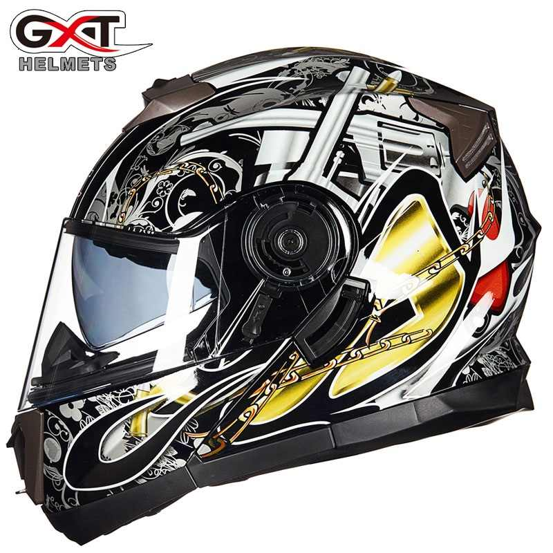 Baru GXT 160 Flip Up Helm Sepeda Motor Double Lensa Helm Full Face Casco Balap Capacete