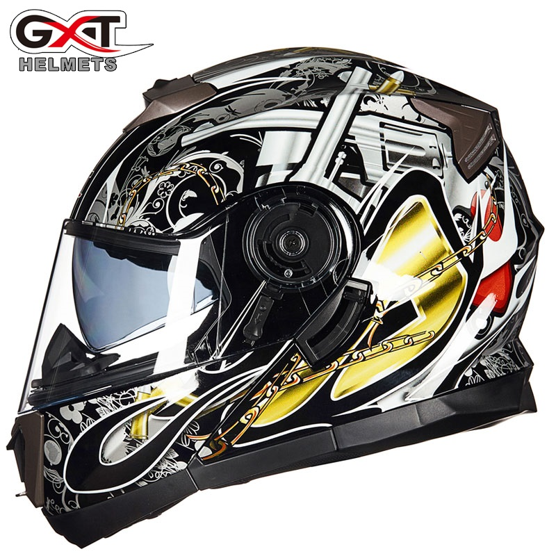 NOVO GXT 160 Virar Para Cima do Capacete Da Motocicleta Lente Dupla Rosto Cheio Capacete Casco Corrida Capacete