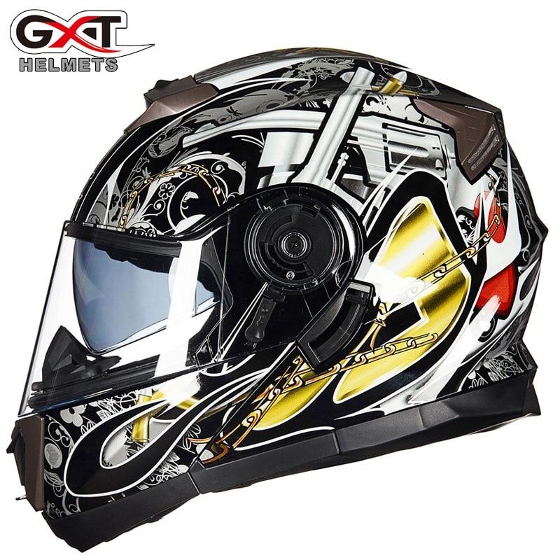 Nouveau GXT 160 Flip Up casque de moto Double lentille casque intégral Casco Racing Capacete