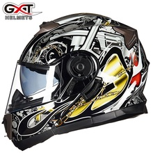 Novo gxt 160 flip up capacete da motocicleta dupla lense rosto cheio capacete casco corrida