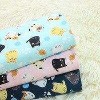 Половина двор импорт хлопок льняной ткани ретро ткань милый кот нить ball печати ткань для ручной DIY Лоскутная сумка telas A712