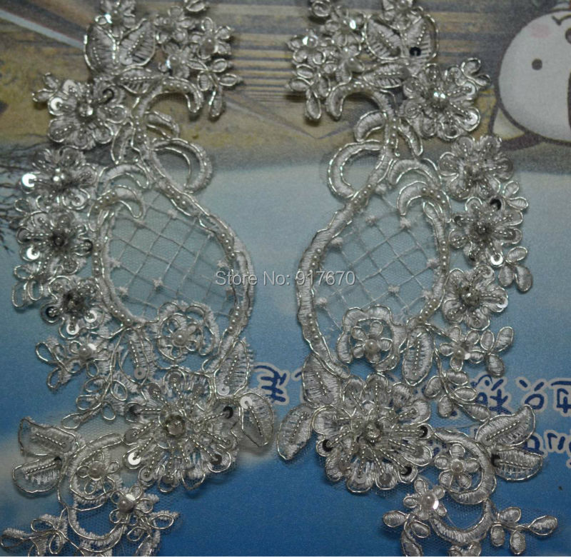 Silver Diamante Rhinestone with Oval Pearl Chain Lace Trim Clothing Crafts 1m