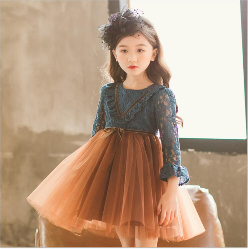 New Lace Flower Princess Dress Spring Girl Dress Winter Long Sleeve Lace Party Ball Gown Baby Girls Clothes High Quality jioromy big girls dress 2017 summer fashion flower lace knee high ball gown sleeveless baby children clothes infant party dress