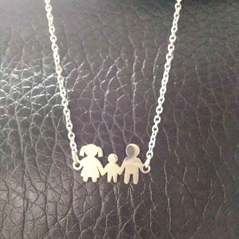 Mama Girl Boy Doll Pendant Necklaces Kid Stainless Steel Necklace for Women Jewelry Neckless gift collares joyeria