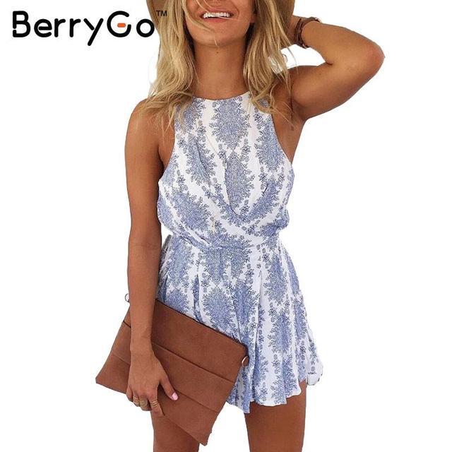 BerryGo 2016 Nova strap backless azul floral print jumpsuit romper playsuit Casuais estilo verão Mulheres sexy arco macacão de praia