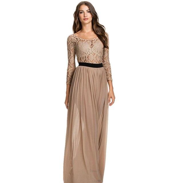 RA80138 venda Quente mulheres de longo festa vestido de noite elegante boa qualidade sexy vestido de renda o-pescoço até o chão vestido de manga longa maxi vestido