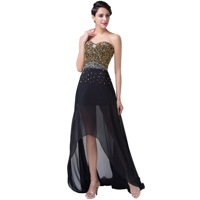 High Low Design Grace Karin Long Sexy Elegant Evening Dresses Formal Black  Dinner Gown Sequins Beading Prom Party Chiffon CL6254 976743b548ca