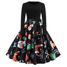 Women Winter Clothing 50S 60S Vintage Christmas Dress Santa Claus Star Snow Ball Print Dress Party Long Sleeve Midi Dresses vintage christmas lace insert santa claus print dress