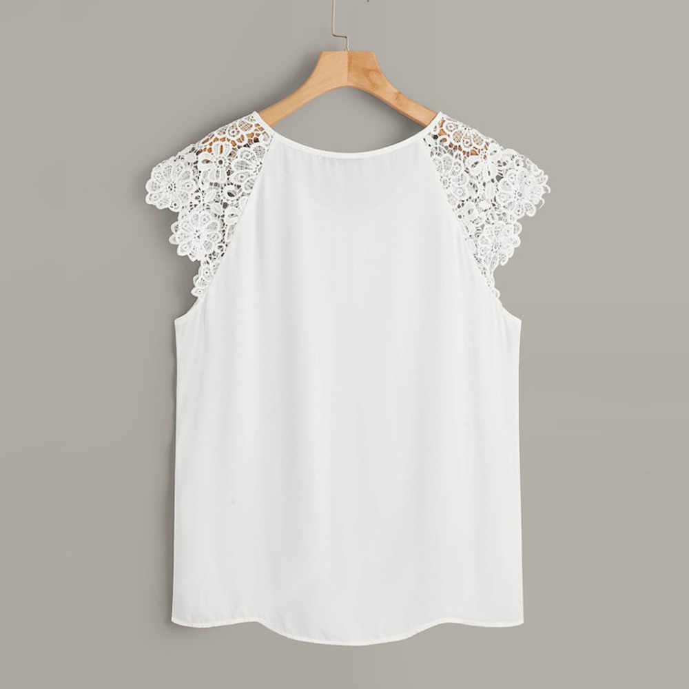 White Shirts Plus Size Solid O-Neck Floral Lace Shoulder Fashion Womens Elegant Summer Tops Blouses chemise blanche femme #15
