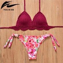 sexy Handmade Crochet Bikini Set Push Up Swimwear Bordered Halter Swimwear Floral Print Beach Bathing Suit thong mujer