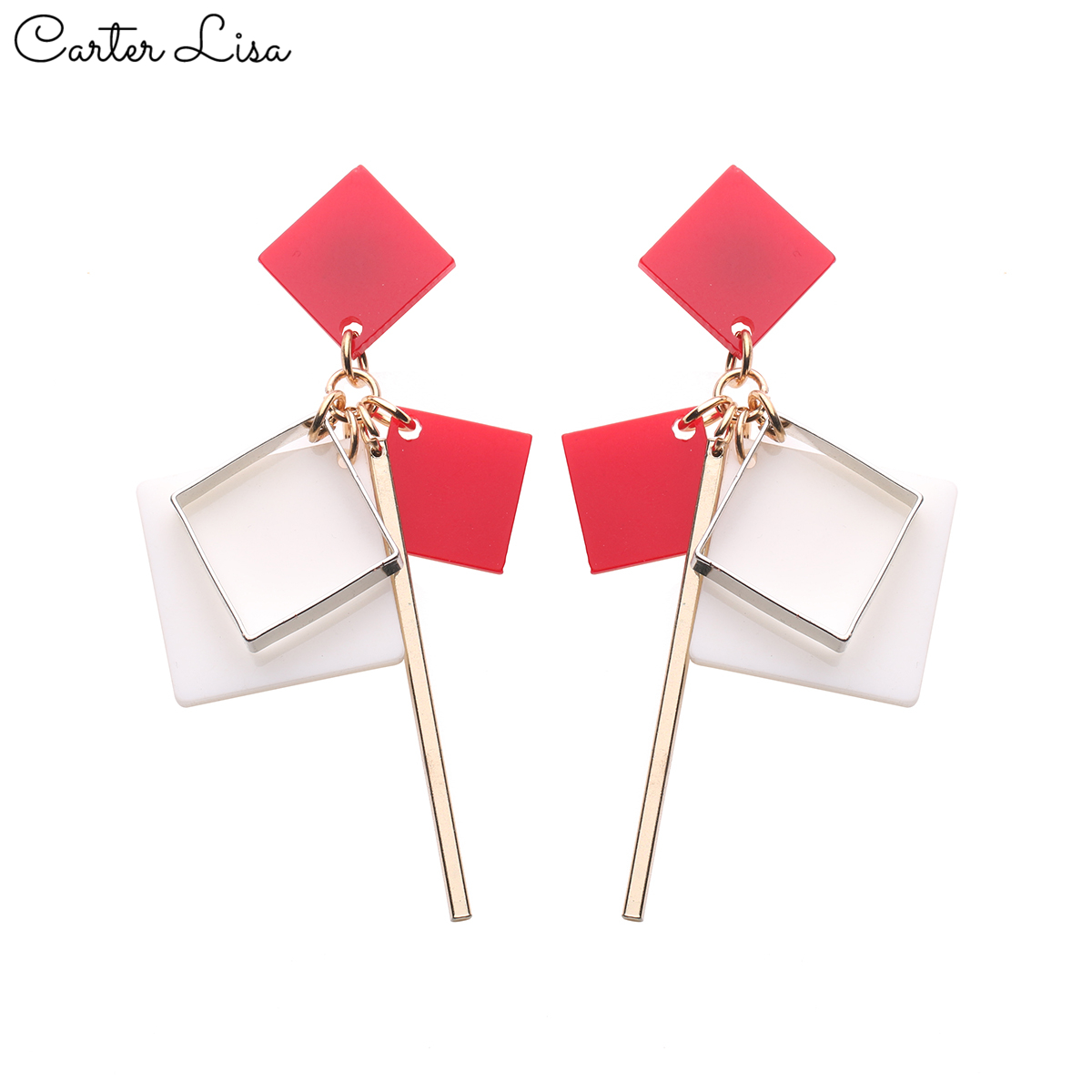 CARTER LISA 2019 New Hot Fashion Women's Bohemian Multicolor Geometric Rectangular  Earrings Earrings OL Jewelry HDEA-070