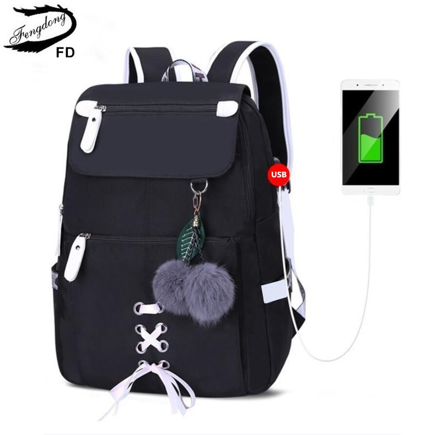 FengDong Kids School Backpack For Girls School Bags Women Shoulder Bag Fur Ball Bowknot Backpacks For Teenage Girls Dropshipping