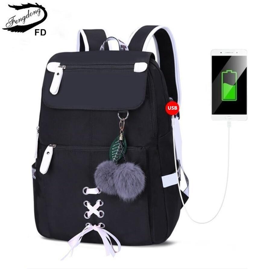 Mochila FengDong para niños, mochilas escolares para niñas, bolso de hombro para mujeres, mochilas con lazo de pelo para chicas adolescentes, dropshipping