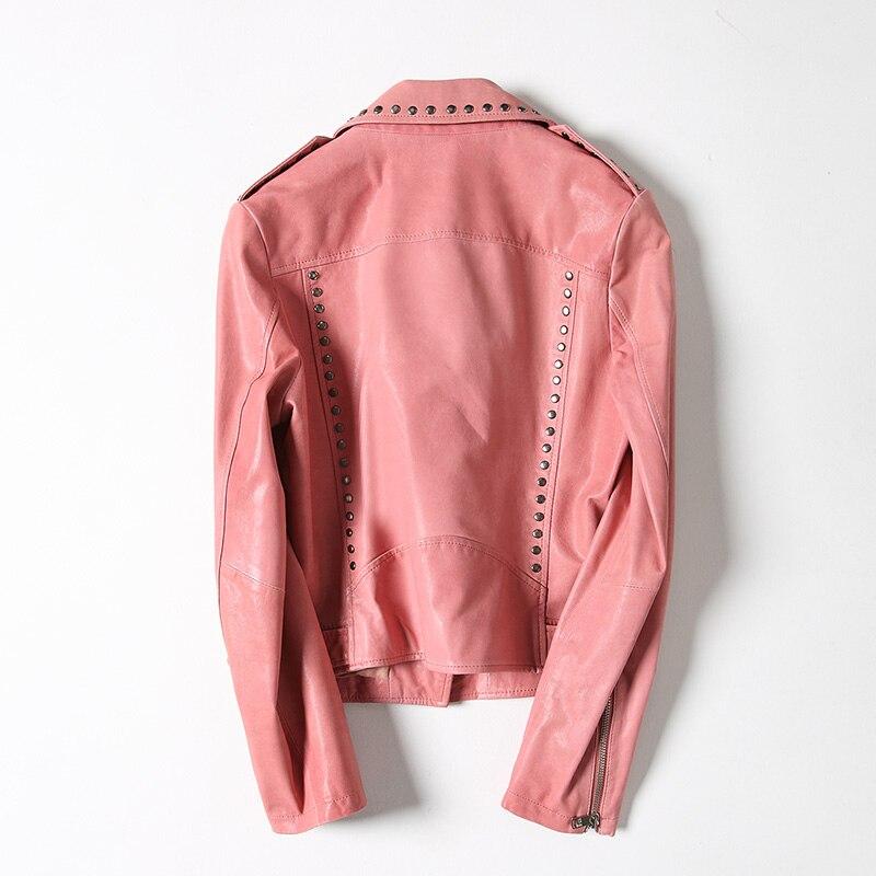 Veste Réel Cuir Femmes Manteau Véritable Printemps 2018 Rivet Rose Mode Peau En Wyq1526 rose Mouton De Moto Ayunsue Noir Femelle 8RESwnFqw