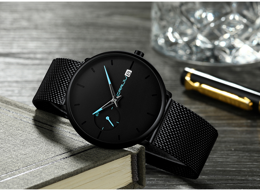 Crrju Sports Date Mens Watches Top Brand Luxury Waterproof Sport Watch Men Ultra Thin Dial Quartz Watch Casual Relogio Masculino 19