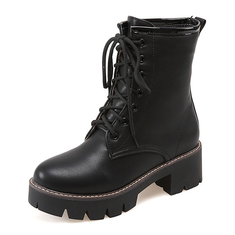 Size 34-43 Thick Med Heels Platform Shoes Woman Add Fur Fashion Lace Up Winter Boots Lady's Casual Skid Proof Boots Female Shoes big size 34 43 fashion rivets skid proof ankle boots square high heels platform shoes fall concise winter boots shoes woman
