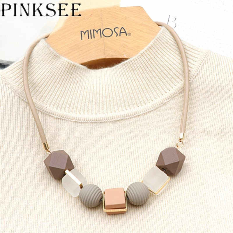 PINKSEE Colored Wood Round Beaded Pendant Necklace Trendy Sweater Chain Geometric Jewelry Accessories for Women