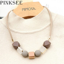 PINKSEE Colored Wood Round Beaded Pendant Necklace Trendy Sweater Chain Geometric Jewelry Accessories for Women trendy ancient silver owl pendant sweater chain necklace for women