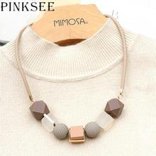 Pinksee colar colorido com pingente de madeira, redondo, frisado, corrente de suéter, corrente geométrica, acessórios de joias para mulheres