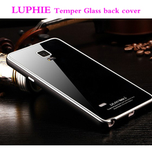 Luphie Luxury High Quality Tempered Glass Back Case With Aluminum Arc Metal Frame for Samsung Galaxy Note 4 N9100 Capa Funda
