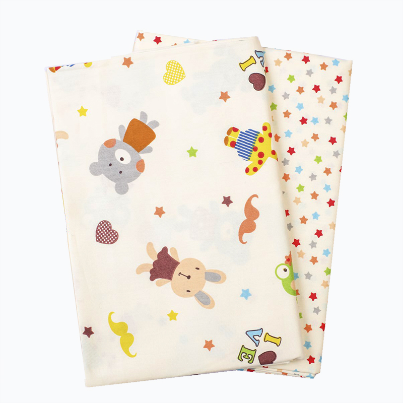 2pcs/Lot Cartoon Baby Rabbit Star Cotton Cloth Fabric for Sewing Patchwork DIY Children Bed Sheet Clothing Curtain 40cmx50cm