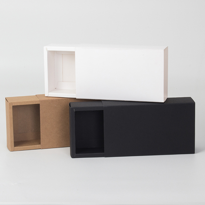 Image 5 - Kraft Paper Drawer Type Craft Gift Box White Black Jewelry  Handmade Soap Packaging Boxes For Wedding Party CandyGift Bags