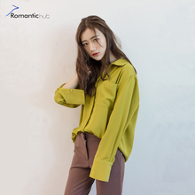 Fashion Women Blouses Exclusive Custom Retro Loose Casual Solid Long Sleeved Chiffon Shirt Korea Style 2017 Pocket Polo Neck Top