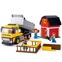 SLUBAN 0552 City Construction Dumper Truck Figure Blocks Educational Construction Building Toys For Children Compatible Legoe
