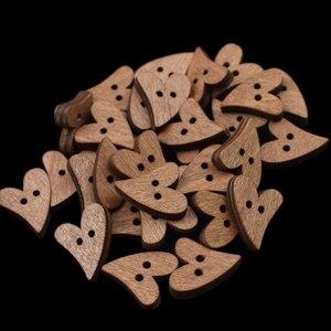 Деревянные швейные пуговицы в форме сердца, 100 шт., 20 мм, пуговицы для скрапбукинга из коричневого дерева для рукоделия, 2 отверстия, аксессуа...