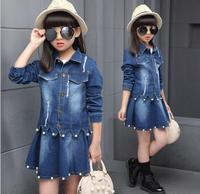 baby girl clothes Kid child New cowboy suit, girl's spring dress, children's Pearl denim skirt, two pieces of children's wear