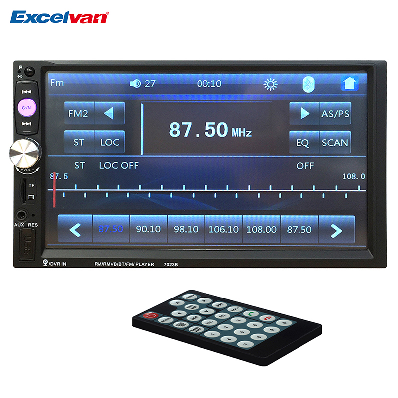 Universal 7'' 2 Din Bluetooth V3.0 Car Audio MP5 Player Touch Screen In Dash Media Stereo Radio Remote Controller FM/USB/SD/AUX eincar in dash single din one din car stereo dvd cd player lcd screen mp3 fm usb sd card receiver with wireless remote control