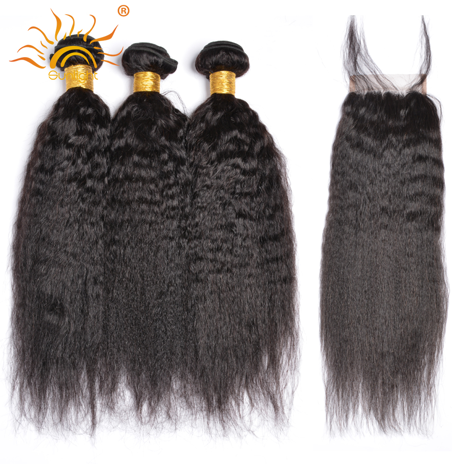 Yaki Straight Hair Bundles With Closure Brazilian Human Hair Weave Bundles With Closure Sunlight Non Remy