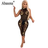 c7b5a93bd28d Abasona Bright Diamond Dress Women Sexy See Through Sleeveless Turtleneck  Bodycon Wrap Dress Woman Mid Calf