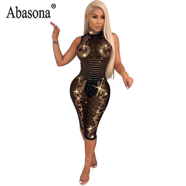 496866a87c3d Abasona Bright Diamond Dress Women Sexy See Through Sleeveless Turtleneck Bodycon  Wrap Dress Woman Mid Calf Night Club Dresses