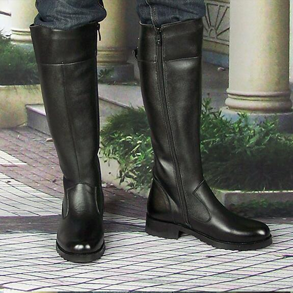 Men Winter Genuine Leather Flat Heel Long Boots Korean Style Round Toe Warm Full Grain Leather Comfortable Fashion Long Boots round toe korean version womens booties ankle block high heel princess full grain leather boots winter geometric mixed colors