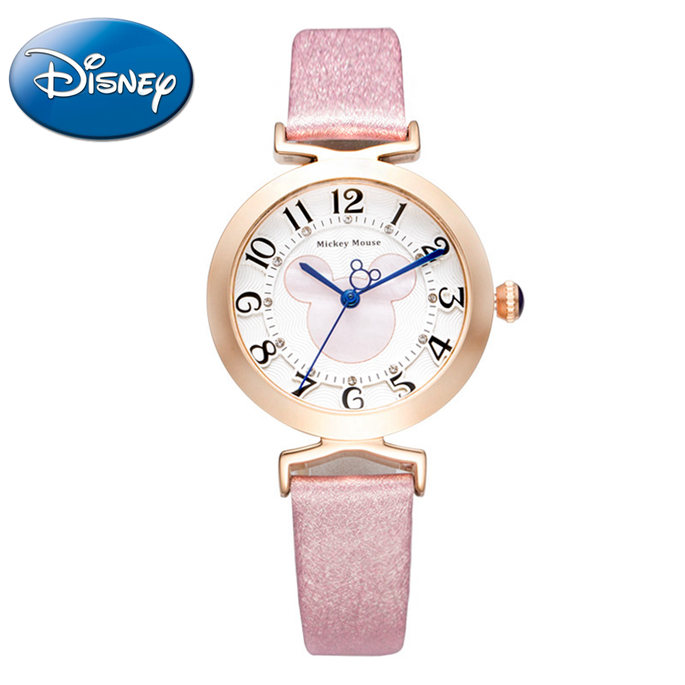 Disney Women beautiful Top quality rhinestone leather strap watches Girls fashion casual quartz digital watch Mickey mouse 11004 disney frozen elsa anna princess best rhinestone watch pretty girls fashion casual quartz watches kid leather 54055 snowflake