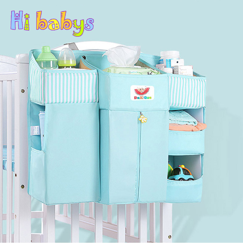 Baby Bed Multi-Function Hanging Storage Bag Newborn Bedside Crib Organizer Diapers Pocket For Baby High Quality Baby Bedding Set multi diapers