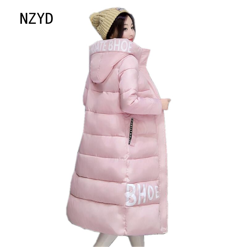 Latest Winter Fashion Women Down jacket Hooded Thick Super warm Long Coat Print Letters Long sleeve Loose Big yards Parkas NZ261