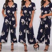 ZOGAA 2019 Elegant Bodysuits Floral Printed Cloak V-neck Beach Summer