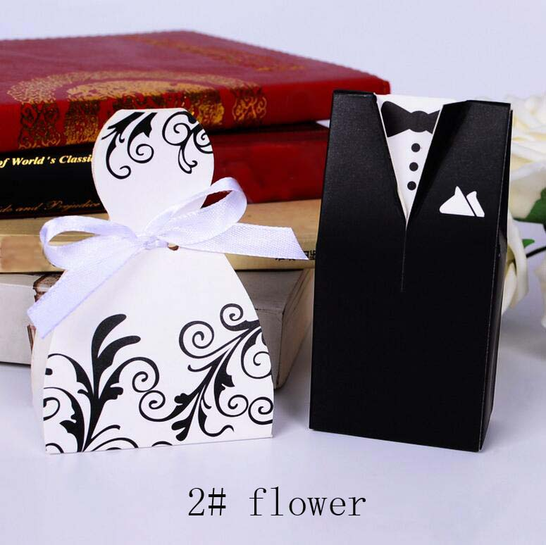 white black flower suit dress candy chocolate gift box for wedding birthday tea party favor decoration Wh