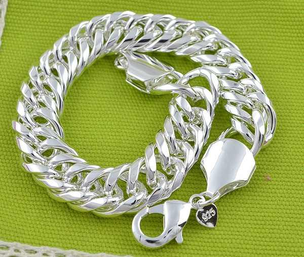 LJ & OMR promocja 100% autentyczne 925 Sterling Silver damski łańcuszek bransoletka hurtownia moda męska biżuteria srebrna bransoletka męska