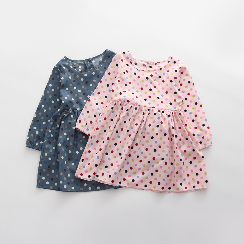 2019 Autumn Girl Dress Cotton Long Sleeve Children Dresses Polka Dot Kids Dresses for Girls Fashion Girls Clothing