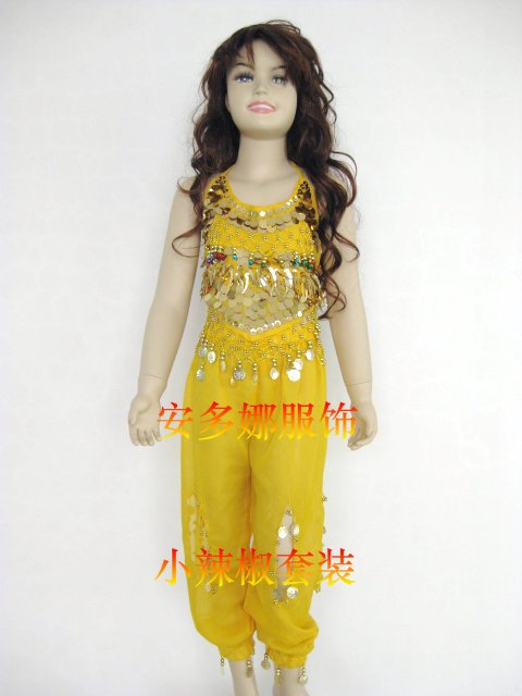 Танец живота костюм комплект Топ и Штаны Fit Детская высота 90-130 см, дети От 6 до 13 лет 6 видов цветов Выберите