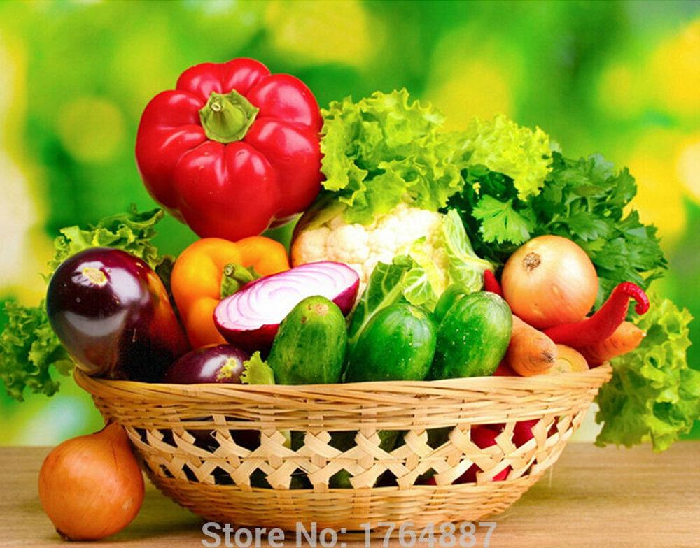 Glymg 5d Diy Diamond Painting Cross Stitch Vegetable Fruit Basket