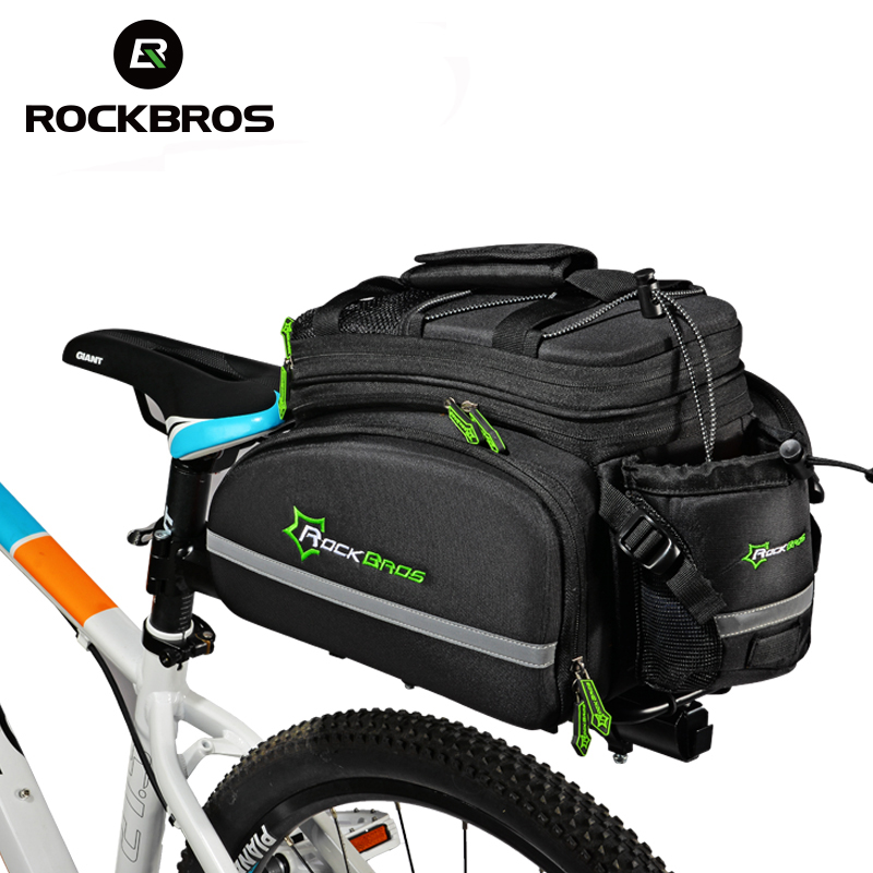 ROCKBROS Cycling Rear Seat Bag Trunk Bag Handbag Bicycle Bags & Panniers Bicicleta Multi-fonction Portable Luggage Bags,3Colors roswheel 50l bicycle waterproof bag retro canvas bike carrier bag cycling double side rear rack tail seat trunk pannier two bags