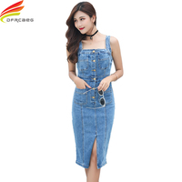 Denim Dress Women 2018 New Fashionable Streetwear Style Pencil Jeans Dress With Pockets High Quality Spaghetti Strap Dress